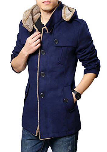 Brinny Herren Casual Mantel Fleece Parka Winter Warme Jacke Trenchcoat mit Kapuze Blau