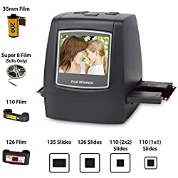 """Scanner / numériseur Jumbl de haute résolution 14MP - Convertit des négatifs et des diapositives de 35mm en des JPEG numériques de 14 ou de 22 mégapixels à l'aide d'un logiciel intégré d'interpolation - Aucun ordinateur / logiciel n'est requis - Comprend une sortie pour LCD et TV de 2,4"""" en couleur"""