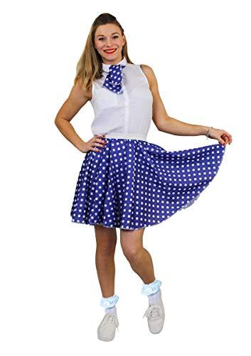 ILOVEFANCYDRESS Damen Polka und Rock n Roll Rock in der Farbe blau mit weißen Punkten, ohne Bluse in der grösse uk 8/14 = europ 36-42Länge des Rockes ist 17inces /43cm