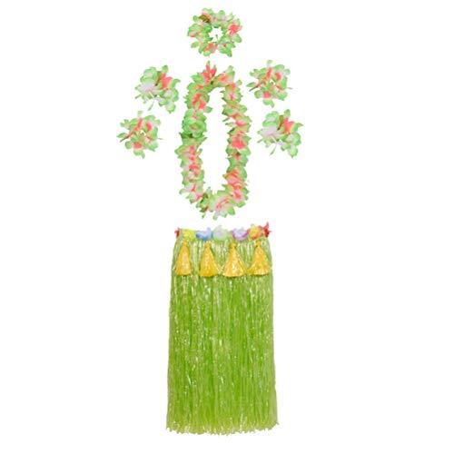 Armbänder Kostüm Knöchel - Amosfun Tropische Hula Gras Rock Hawaiian Kostüm Kostüm Set Blume Leis Knöchel Armband Stirnband Halskette Set Hawaii Motto Sommer Party Supplies 80 cm