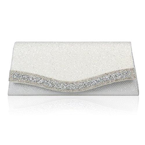 Damara® Damen Partys Blendende Abendtaschen Mit Pailletten Weiß