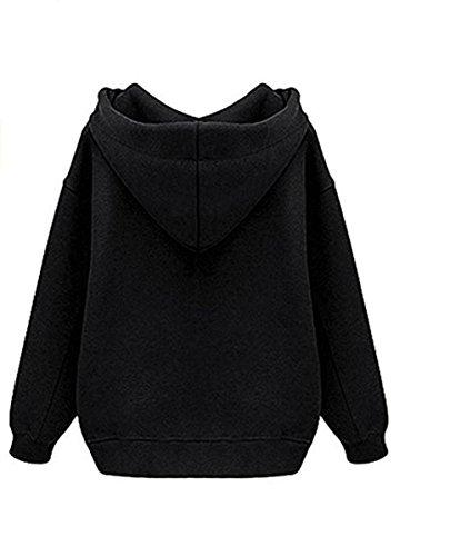 Vertvie Femme Sweat-Shirt à Capuche Lâche Fleece Blouse Hoodie Tops Casual Uni Automne Printemps Noir