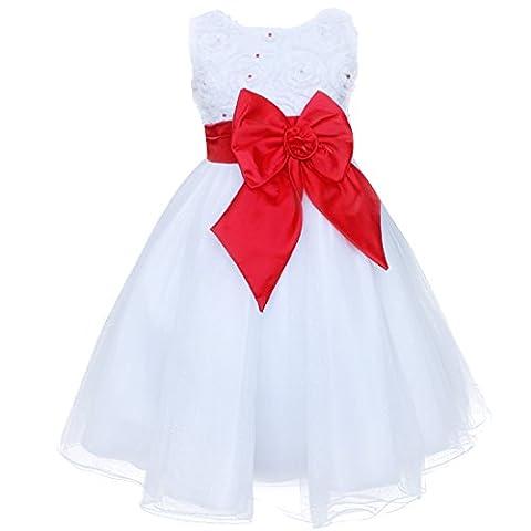 Enfant Fille Robe Multicolore Bow Noeud Papillon Blanc Tulle Formelle de Mariage Fleur Pageant Partie 2-8 Ans (2-3 ans, Blanc +