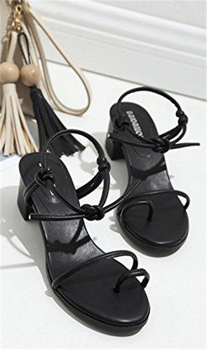 SZXC Frauen Sandalen Mode Sommer Zehe Strapscasual Flache Schuhe Black