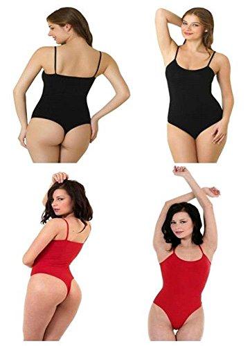 dames femmes riches en coton mélangé minces combinaisons de lanière de courroie(ladies thinstrap thong bodysuits)Ref:2315 Noir & Rouge (Black&Red)