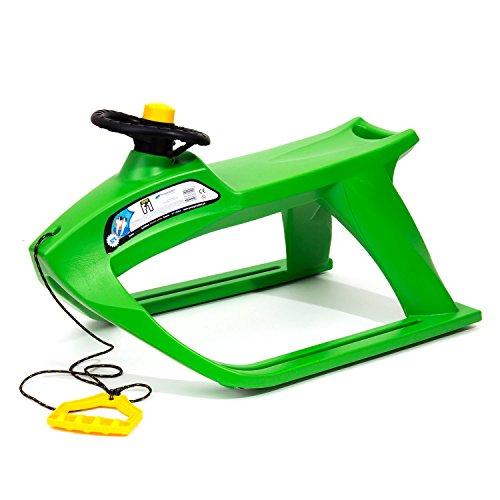 Schlitten Kinderschlitten Metall Kufen Lenkrad Zugseil Hupe grün
