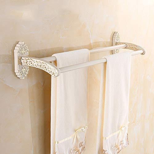 Handtuchhalter Edelstahl Gold Plus Weiß European Retro Double Pole Handtuchhalter Bad Regale Hardware-Anhänger für Qualität und Langlebigkeit. (In Plus Pendelleuchte)