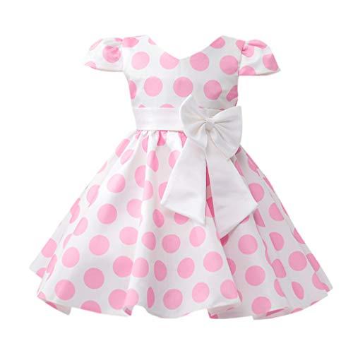 squarex  Mädchen Blume Dot Bow Kleid Kinder Prinzessin Rock Baby Party Kleid Leistung Formale Tutu Kleid Mädchen fliegen Ärmel Rock Neckholder Formale