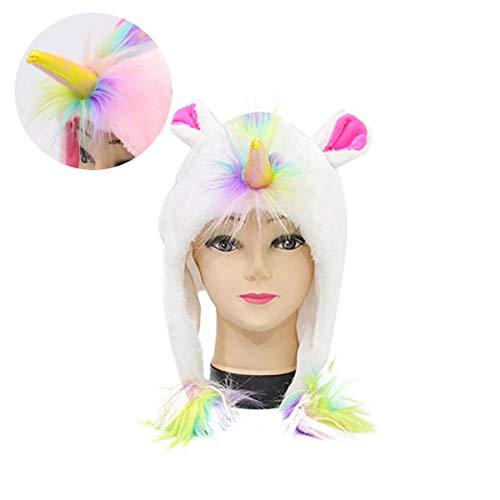 IHomiki Neuheit Einhorn-Plüsch-Hut-Winter-Rave Cosplay Partei-Snowboarding-Hut Einhorn-Kostüm-Party Supplies 3D Unicorn Unisex Plüsch-Hut für Erwachsene und große - Einhorn Kostüm Rave