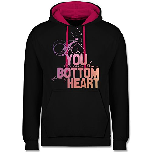 Statement Shirts - I love you from the bottom of my heart - Kontrast Hoodie Schwarz/Fuchsia