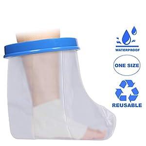 Wasserdichte wasserdichte Fuß- und Knöchelabdeckung | Hält den Verband trocken für Dusche und Bad | Latex frei | Wiederverwendbar