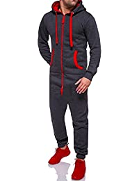 MT Styles Jumpsuit Overall contrasté homme R-5106
