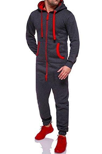 MT Styles Jumpsuit Overall Trainingsanzug R-5106 [Dunkelgrau/Rot, XL]