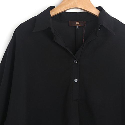 Looses locker casual Bluse shirt mit Knopfleiste Schwarz