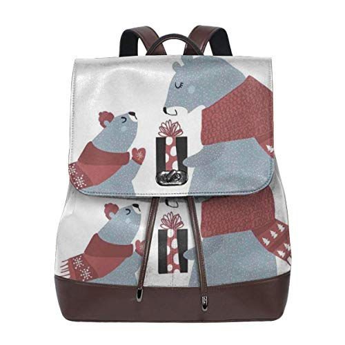 Women's Leather Backpack,Christmas Time Baby Bear Giving Present to Mom Noel Celebration Theme,School Travel Girls Ladies Rucksack (Going Outfits Babys Home)