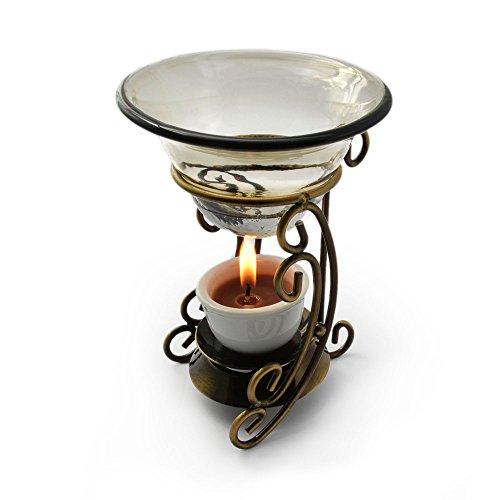 Ganzoo Duft-Lampe für Teelicht, Aroma-Lampe aus legiertem Metall, 2 teilig, für ätherische Öle, mit Glas-Schale -