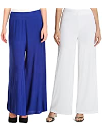 Mango People Products Indian Ethnic Rayon Designer Plain Casual Wear Palazzo Pant For Women's (Royal Blue And...
