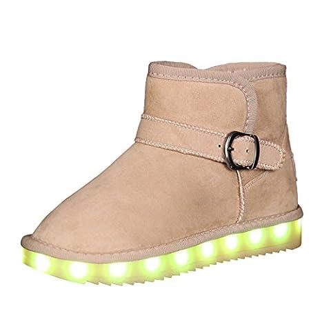 Bevoker Schneestiefel für Mädchen Jungen LED Blinkschuhe Winterstiefel mit Pelz Kinder Unisex(Wählen Sie eine größere Größe)