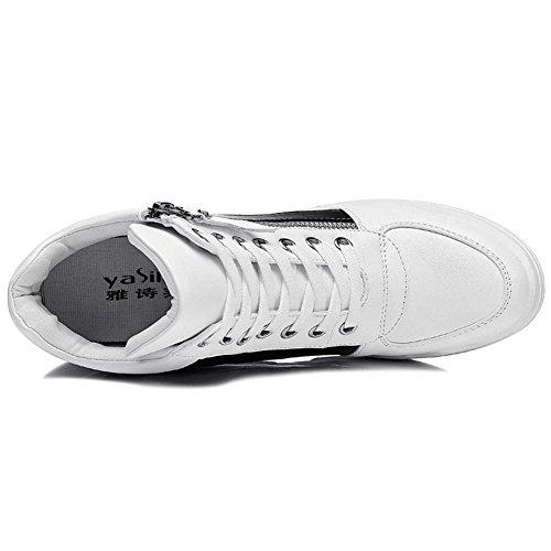 Damen Modische Dicke Boden versteckte Aufzug Kurzschaft Flach Runde Zehen Schnürer Reißverschluss an der Seite Lässige Schuhe Sneakers Größe Weiß