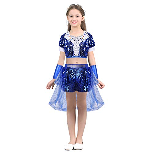Kleid Jazz Dance Kostüm - Freebily Kinder Tanz Kostüm Pailletten Tanz Kleidung Set Hip-Hop Jazz Kleid Outfit Dancewear Glänzende Crop Top + Shorts + Armstulpen Blau 140-152/10-12 Years