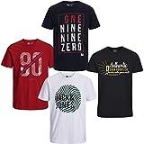 JACK & JONES Herren T-Shirt 4er Pack Rundhals O-Neck Tee Shirt S,M,L,XL,XXL (XL, 4er Paket #38)