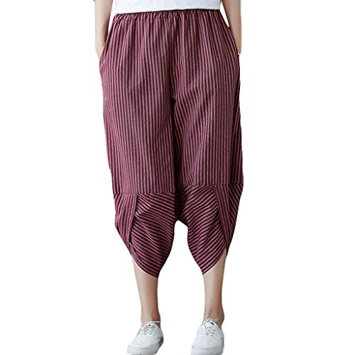 WOZOW Harem Pants Damen Capri Vertical Streifen Gestreift Strip Hippie Bettwäsche Baumwolle Loose Casual Slit Cuff High Waist Tapered Crop Trousers (XL,Rot) -