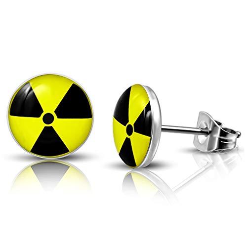 10mm Edelstahl mit Acryl 3-Ton Kernenergie Symbol runden Kreis Ohrstecker