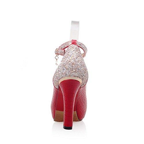 VogueZone009 Femme Fermeture D'Orteil à Talon Haut Rond Boucle Pu Cuir Couleur Unie Chaussures Légeres Rouge
