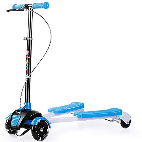 LGZOOT Dreiradscooter Mit 4 Rädern Griff Einstellbare Trendy Scooter Für 3-14 Jahre Alt,Blue
