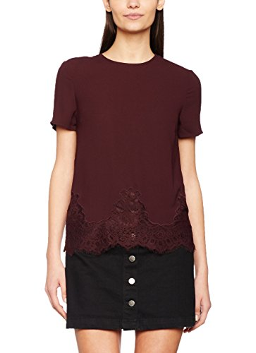 New Look Damen T-Shirt Lucy Lace Violett (Dark Purple)