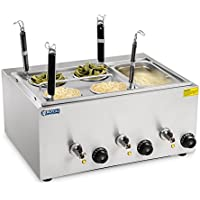 Royal Catering Nudelkocher Pastakocher (4 L, 3 x 1000 W, 30–110 °C, 4 Körbe, GN 1/3 Behälter, Ablasshahn, 50,7 x 60,5 x 50 cm, Edelstahl)