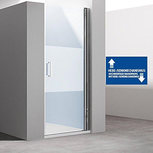 BxH: 85x195 cm Design Nischentür Teramo24ms, Einzeltür mit Wandanschlag Rechts, ESG Sicherheitsglas Klarglas mit Milchglas Streifen, mit Hebe- und Senkmechanismus, inkl. NANO-Beschichtung