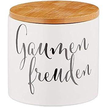 Keksdose mit Holzdeckel 10cm x 8,5cm rund Porzellan 52572 wei/ß Gaumenfreuden Cepewa