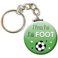 PORTE CLÉS Chaînette 3,8 cm ✩ J'Peux Pas J'ai FOOT (sport) ✩ (idée cadeau humour homme femme excuse)