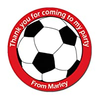 Treasured Forever 24 x Personalised Football Birthday Stickers For Party Thank You Sweet Cone Bags (Red)
