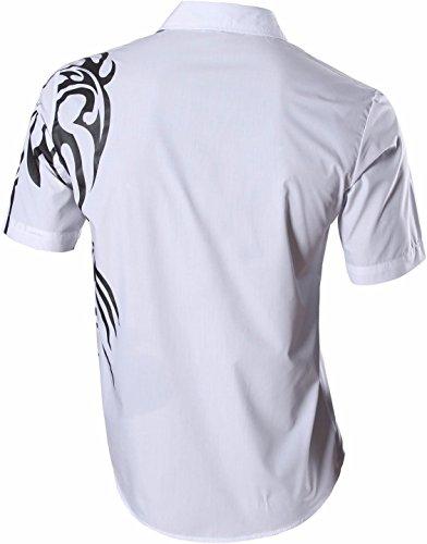 jeansian Homme Chemises Casual Manche Courte Shirt Tops Mode Men Slim Fit 8360 Z031_White