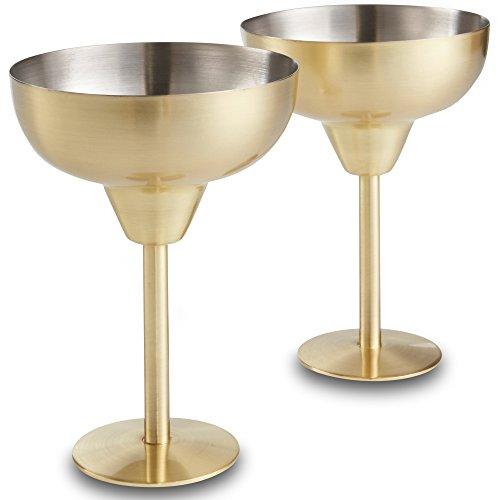 VonShef 2-teiliges Set bruchsichere Margarita Cocktail Gläser Edelstahl - Gold