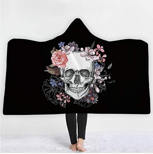 FFCLZ Pinkes Kapuzen-Sweatshirt mit 3D-Totenkopf-Aufdruck für Erwachsene, Kinder, rosa Wollfrau, die Mikrofaser-Decke auf das Schlafsofa wirft @ Black_150 * 200cm -