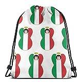 "Italian Flag Angel with Black Hair Drawstring Shoulder Bags Gym Bag Travel Backpack Lightweight Gym for Men Women 16.9""x14"""