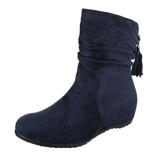 Ital-Design , chaussures compensées femme bleu foncé