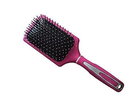 New Large Professional Paddle Hairbrush Tangle Free Cushion Massage Comb Brush (Hot Pink)