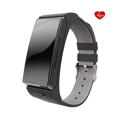 Jiazy bluetooth SmartWatch orologio del monitor di frequenza cardiaca Sport Support chiamata IOS e Android (QR sostegno IOS)
