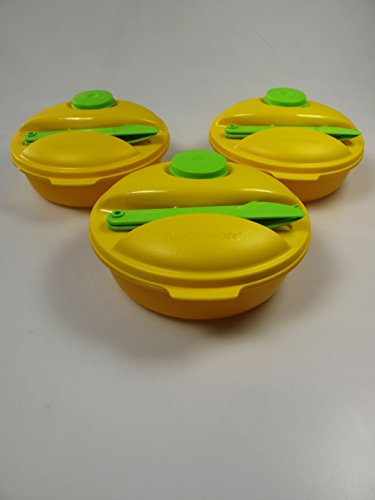 TUPPERWARE Salade on the go 1 L + 2 Couverts + Mini Gobelet 60ml jaune vert (3)