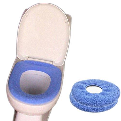 Yunyao 2 pezzi tappetino wc coprisedili wc coprisedile wc universale ideal standard spessi e caldi da bagno confortevoli e lavabili elasticizzati (blu)