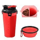 Tyhbelle Hund Trinkflasche unterwegs, Haustier reisenapf Wasserflaschen 2 Fächer mit Zusammenklappbar Schüssel Reisenäpfe für Outdoor Reise (Rot)