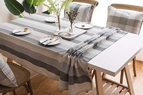 Lanqinglv Streifen Tischdecke 90x90cm Abwaschbar Grau Weiß Gestreiften Baumwolle und Leinen Tischtuch Quadratisch Couchtisch Tischdecke (GY,90x90) - Leinen Tischdecke Weiße Quadratische