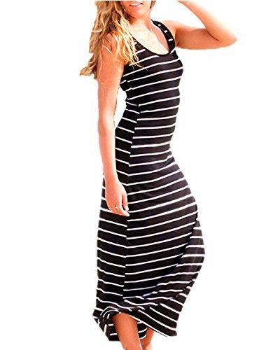 KISSLACE Damen Ärmelloses Langes Streifen Stretch Strandkleid Sommer Baumwolle weiches Kleid Schwarz EU 40