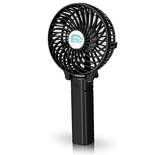 Mini Handheld Persönlichen Fan, faltbar Schreibtisch Tisch Kühler mit 2000mAh USB Akku Elektrischer Lüfter für Haushalt und Büro (3Geschwindigkeit mit Licht, starker wind)