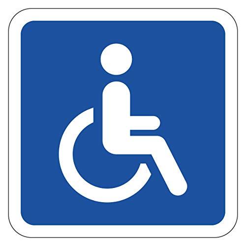 Magnetschild Rollstuhlfahrer 10x10cm + 2X Aufkleber Behindertenschild Magnetfolie Auto Rollstuhl von STROBO
