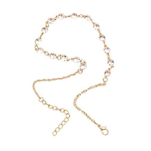 LCLrute Mode Fußkettchen Frauen Shiny Diamond Alloy Clavicle Choker Halskette Charme Kette Schmuck (Gold)